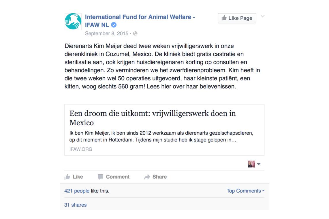 IFAW facebook - Dierenarts Kim